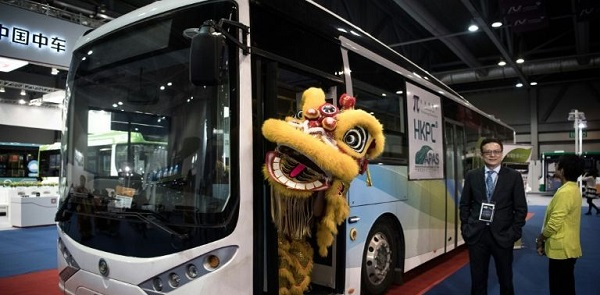 An electric bus during the opening of the CINEV smart car show.  International news agency Agence France-Presse (AFP) notes that China, India and Pakistan dominate global pollution rankings. Pic credit: Agence France-Presse